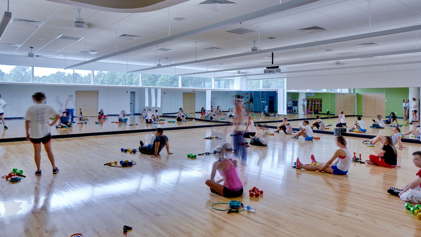 The three indoor group fitness rooms incorporate numerous windows that take advantage of Florida's bright natural light.